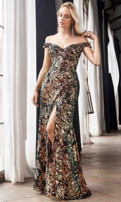 Cinderella Divine - CF348 Off Shoulder Long Gown In Gold and Black