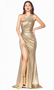 Cinderella Divine - J8790 One Shoulder Metallic Gown