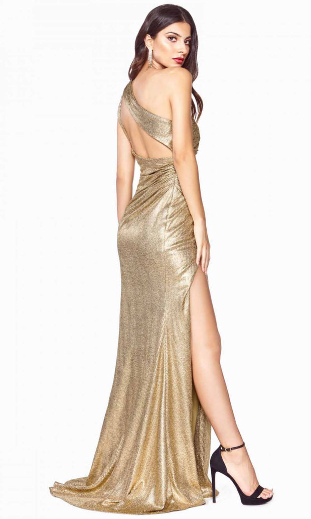 Cinderella Divine - J8790 One Shoulder Metallic Gown In Gold