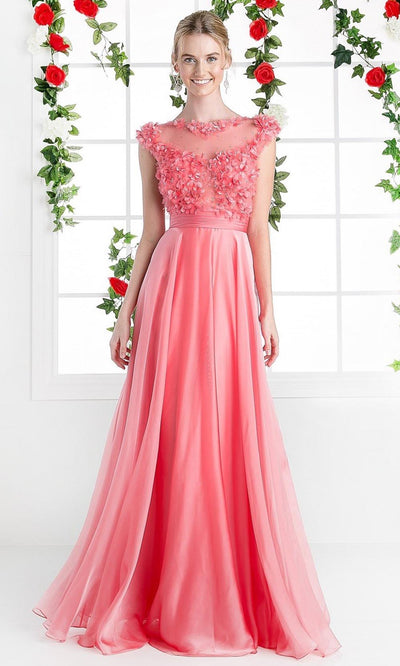 Cinderella Divine - CJ218 Beaded Applique Chiffon Dress In Orange