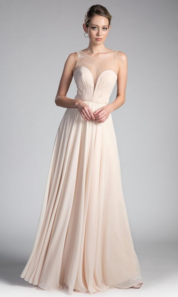Cinderella Divine - CJ251 Illusion Neck Chiffon A-Line Gown In Neutral