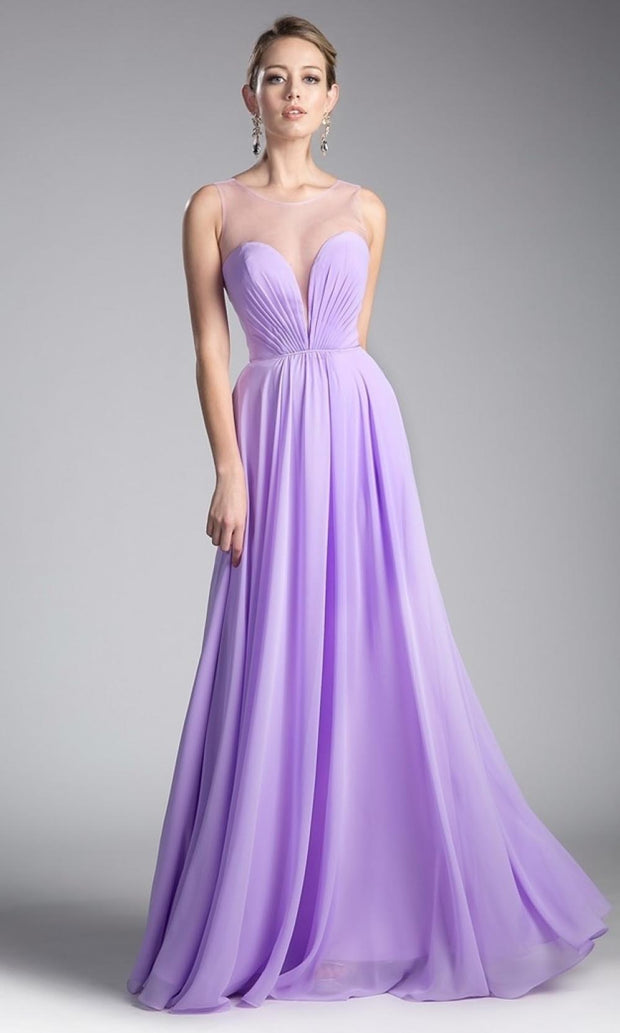 Cinderella Divine - CJ251 Illusion Neck Chiffon A-Line Gown In Purple