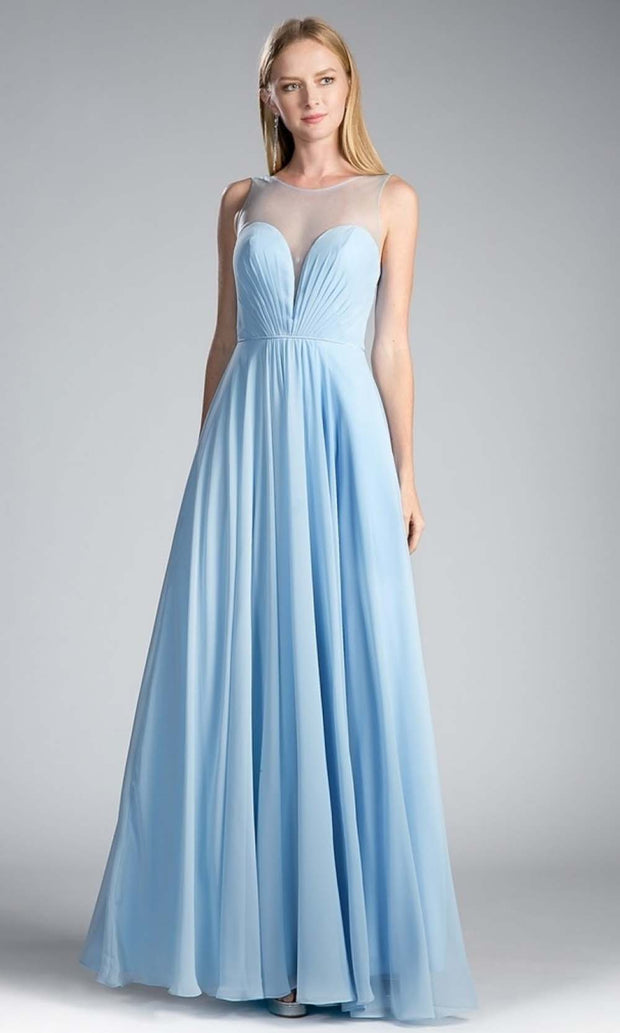 Cinderella Divine - CJ251 Illusion Neck Chiffon A-Line Gown In Blue