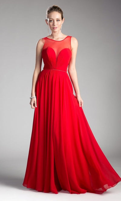 Cinderella Divine - CJ251 Illusion Neck Chiffon A-Line Gown In Red