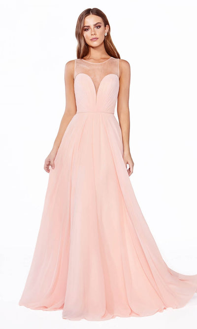 Cinderella Divine - CJ251 Illusion Neck Chiffon A-Line Gown In Pink