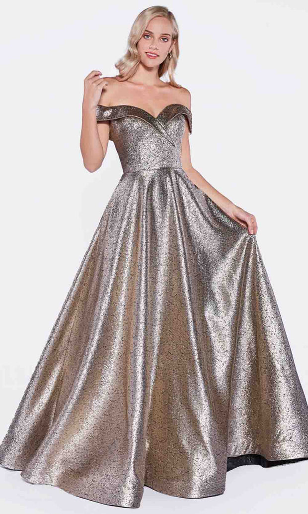 Cinderella Divine - CJ268 Metallic Off Shoulder A-Line Gown In Brown