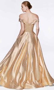 Cinderella Divine - CJ268 Metallic Off Shoulder A-Line Gown In Gold