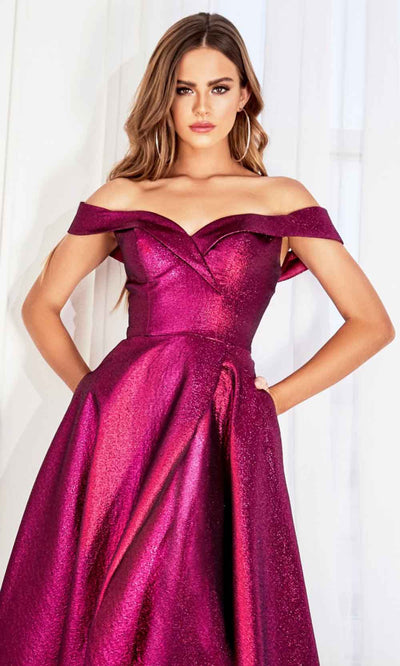 Cinderella Divine - CJ268 Metallic Off Shoulder A-Line Gown In Pink