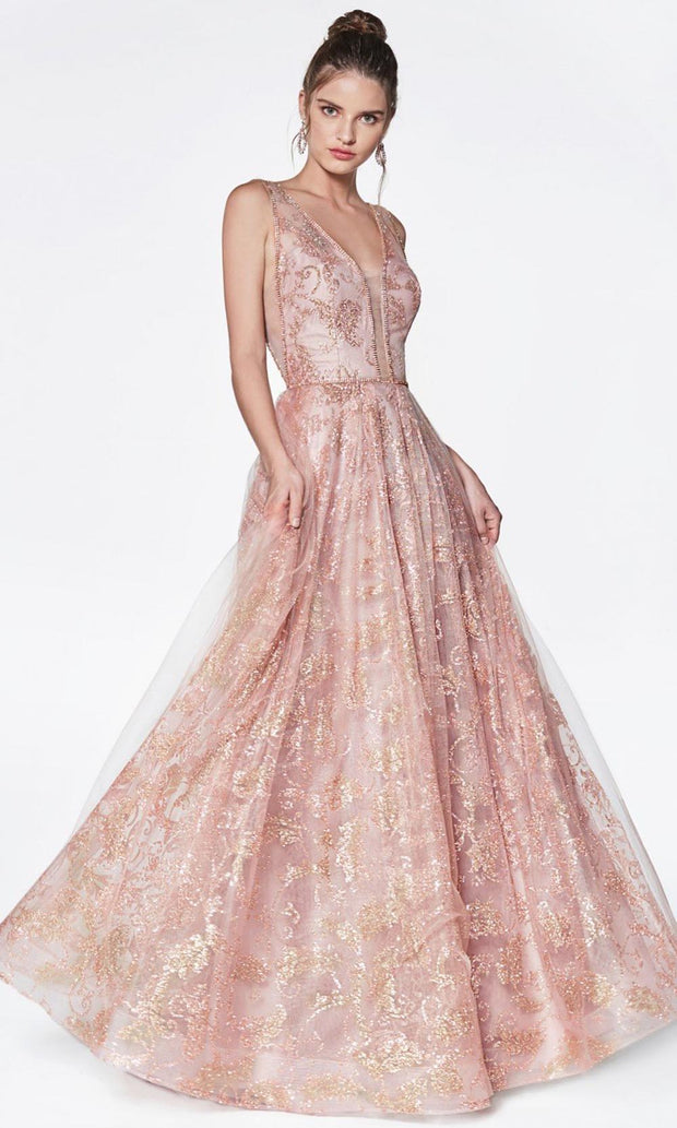 Cinderella Divine - CJ271 Deep V Neck Long A-Line Dress In Pink