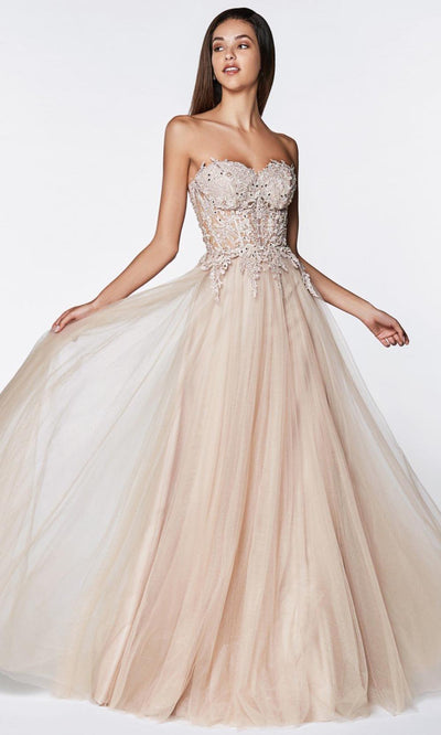 Cinderella Divine - CJ502 Lace Tulle A-Line Gown In Pink