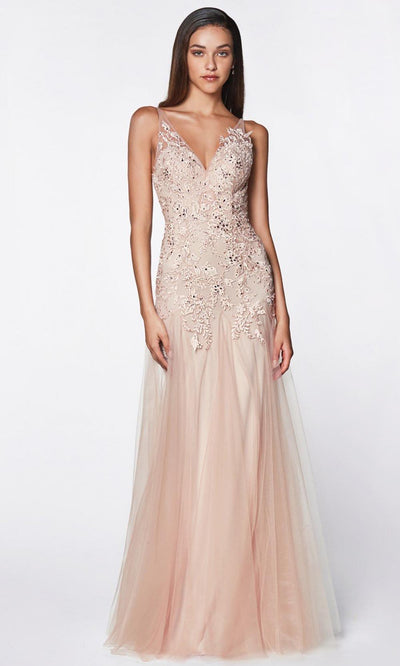 Cinderella Divine - CJ503 Lace V Neck Godet Dress In Pink and Neutral