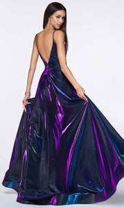 Cinderella Divine - CJ506 Deep V Neck A-Line Gown In Purple