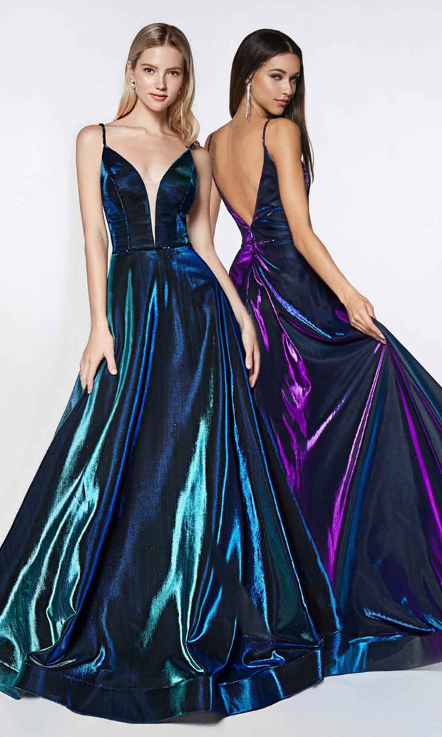 Cinderella Divine - CJ506 Deep V Neck A-Line Gown In Green and Purple
