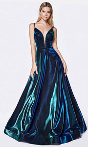 Cinderella Divine - CJ506 Deep V Neck A-Line Gown In Green