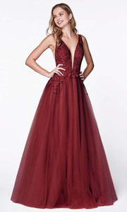Cinderella Divine - CJ511 Jeweled Lace Tulle A-Line Dress In Red
