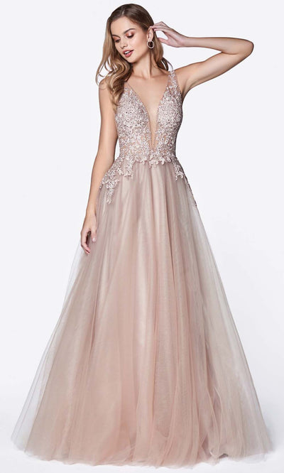 Cinderella Divine - CJ511 Jeweled Lace Tulle A-Line Dress In Neutral