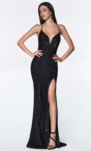 Cinderella Divine - CJ512 Deep V Neck Trumpet Dress In Black