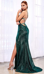 Cinderella Divine - CJ512 Deep V Neck Trumpet Dress In Green