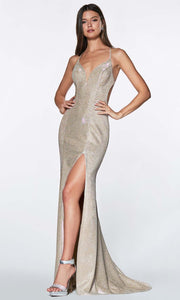 Cinderella Divine - CJ512 Deep V Neck Trumpet Dress
