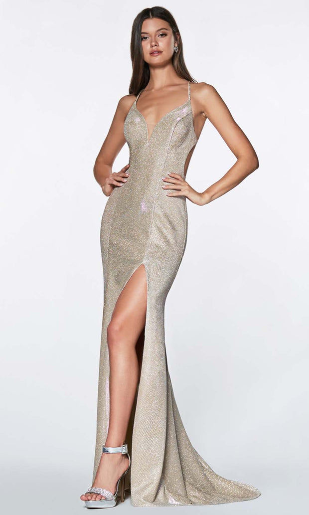 Cinderella Divine - CJ512 Deep V Neck Trumpet Dress In Silver