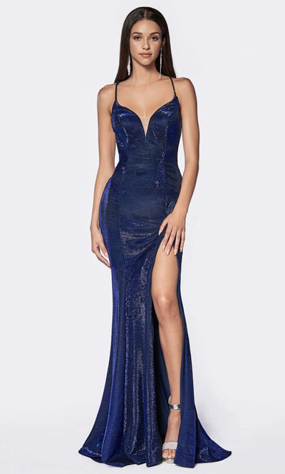 Cinderella Divine - CJ512 Deep V Neck Trumpet Dress In Blue