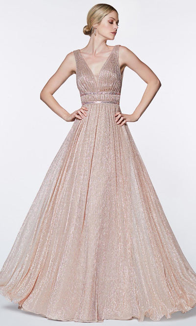 Cinderella Divine - CJ524 Metallic Deep V Neck A-Line Gown In Pink