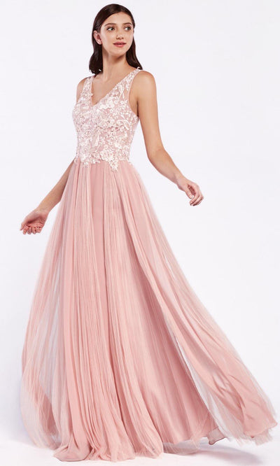 Cinderella Divine - CJ528 Lace V Neck A-Line Gown In Pink