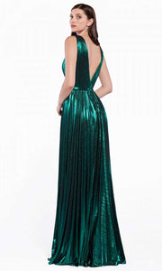 Cinderella Divine - CJ529 Metallic Deep V Neck A-Line Gown In Green
