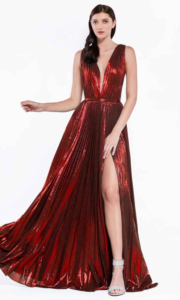 Cinderella Divine - CJ529 Metallic Deep V Neck A-Line Gown In Red