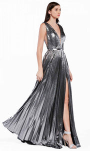 Cinderella Divine - CJ529 Metallic Deep V Neck A-Line Gown In Silver