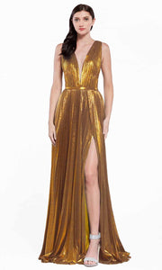 Cinderella Divine - CJ529 Metallic Deep V Neck A-Line Gown In Gold