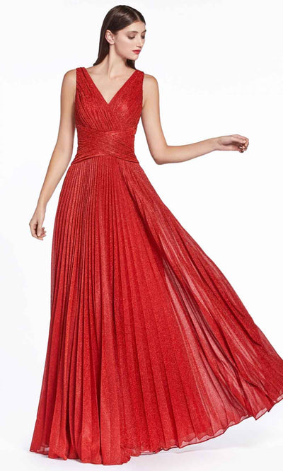 Cinderella Divine - CJ530 V Neck Pleated A-Line Dress In Red