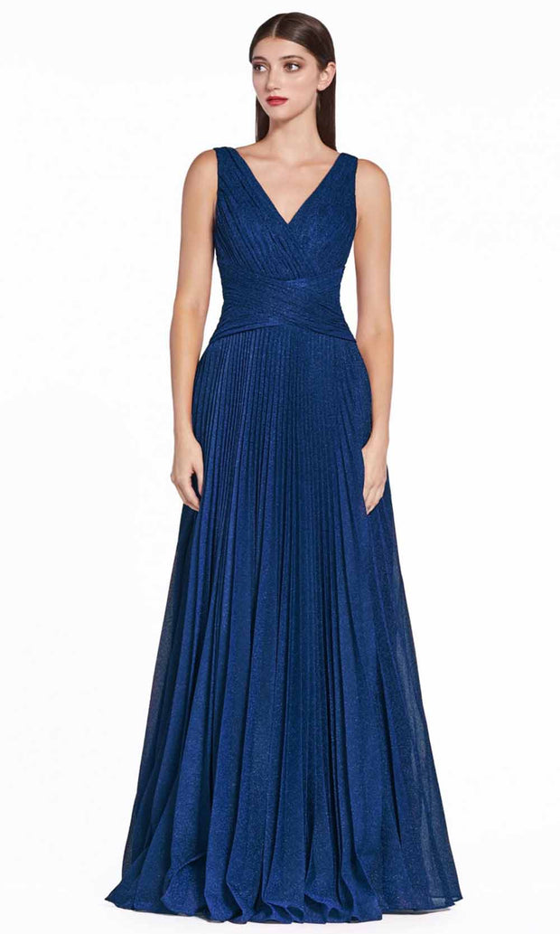 Cinderella Divine - CJ530 V Neck Pleated A-Line Dress In Blue