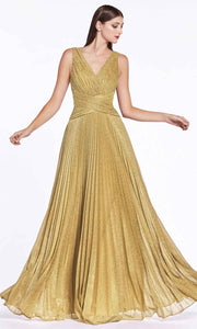 Cinderella Divine - CJ530 V Neck Pleated A-Line Dress In Gold
