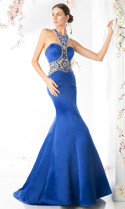 Cinderella Divine - CK31 Beaded Halter Satin Mermaid Dress In Blue