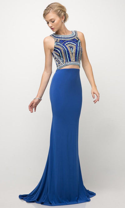 Cinderella Divine - CK39 Beaded Sheath Dress With Train In Blue