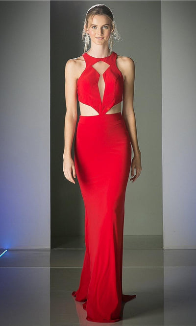 Cinderella Divine - CK66 Halter Neck Sheath Dress In Red