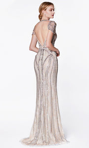 Cinderella Divine - CK865 Embellished Bateau Fitted Dress In Silver