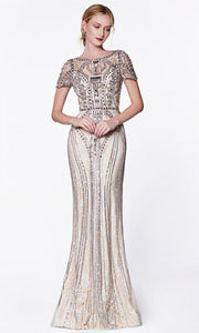 Cinderella Divine - CK865 Embellished Bateau Fitted Dress