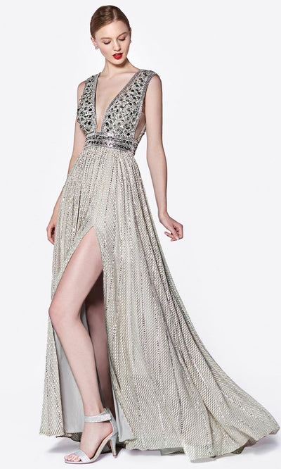 Cinderella Divine - CK892 Plunging Metallic Long Dress In Silver