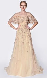 Cinderella Divine - CK896 Floral Beaded A-Line Dress In Gold