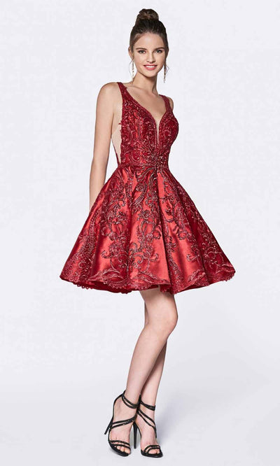 Cinderella Divine - CM302 Embroidered Cocktail Dress In Burgundy