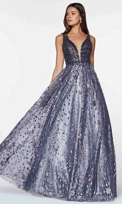 Cinderella Divine - CM9010 Glitter Evening Gown In Silver