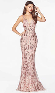 Cinderella Divine - CM9122 Geometric Sequin Long Gown In Pink