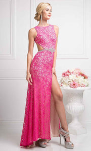 Cinderella Divine - CP807 Beaded Belt Lace Gown In Pink