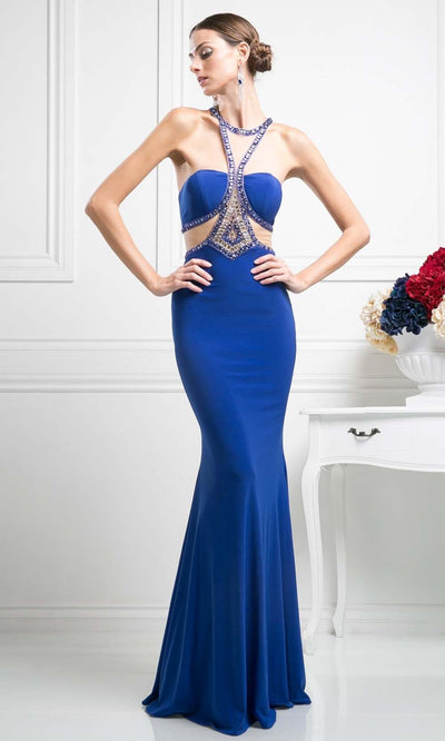 Cinderella Divine - CP812 Beaded Stretch Knit Dress In Blue