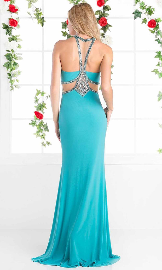 Cinderella Divine - CP812 Beaded Stretch Knit Dress In Green