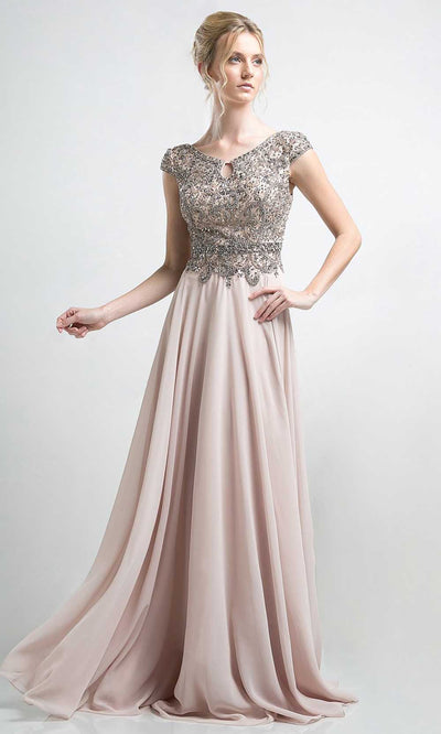 Cinderella Divine - CR721 Beaded Chiffon Long Gown In Champagne