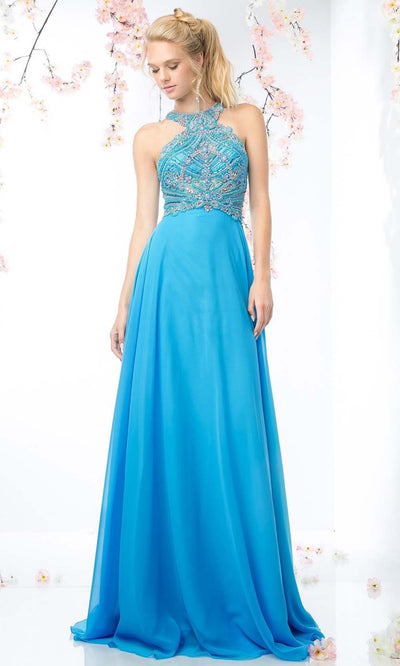 Cinderella Divine - CR730 Halter Chiffon Evening Gown In Blue