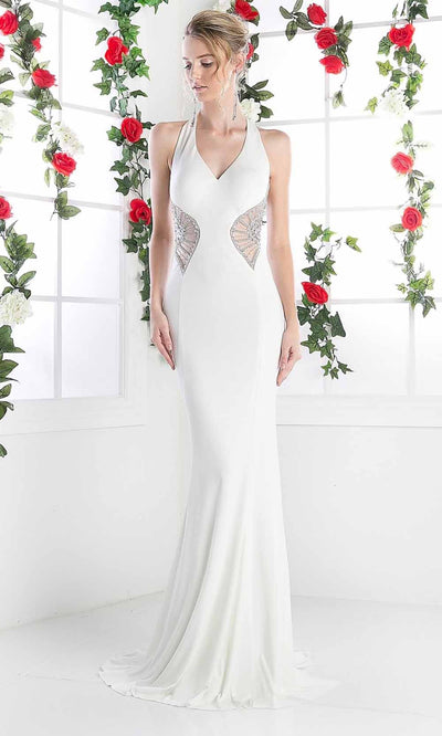 Cinderella Divine - CR743 Beaded Long Satin Gown In White